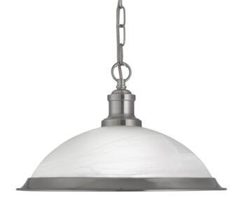 Satin Silver 1 Light Ceiling Pendant Light - 1591SS