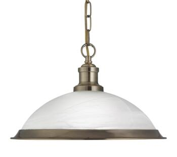 Antique Brass 1 Light Ceiling Pendant Light - 1591AB
