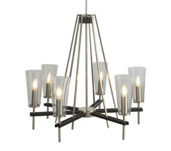 Satin Silver & Black Detail 6 Light Pendant - 2136-6SS