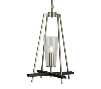 Satin Silver & Black Detail 1 Light Pendant - 2131-1SS