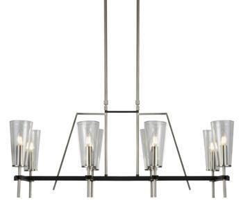 Satin Silver & Black Detail 8 Light Pendant - 2138-8SS