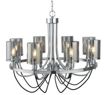 Chrome/Smoked Glass 8 Light Ceiling Fitting - 9048-8CC