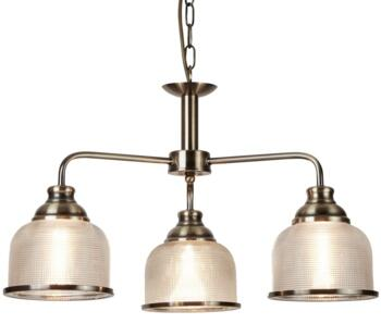 Antique Brass 3 Light Ceiling Light With Halophane Glass - 1683-3AB