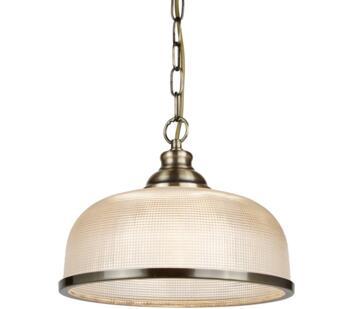 Antique Brass 1 Light Pendant/Halophane Glass - 1682AB