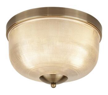 Antique Brass 2 Light Flush Ceiling Light - 1352-2AB