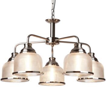 Satin Silver 5 Light Ceiling Light/Halophane Glass - 1685-5SS