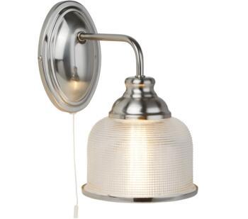Satin Silver Wall Light/Halophane Glass - 2671-1SS