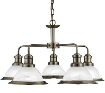 Antique Brass 5 Light Ceiling Pendant Light - 1595-5AB