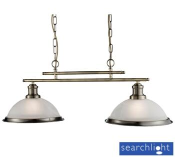 Antique Brass 2 Light Industrial Ceiling Bar - 2682-2AB