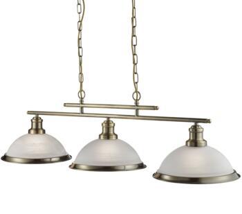 Antique Brass 3 Light Industrial Ceiling Bar - 2683-3AB