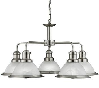 Satin Silver 5 Light Ceiling Pendant Light - 1595-5SS