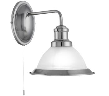 Satin Silver Switched Wall Light - 1481SS
