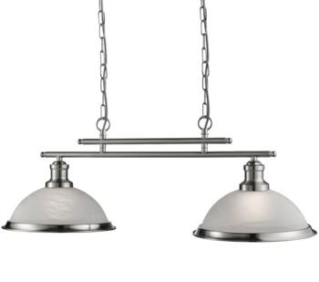 Satin Silver 2 Light Industrial Ceiling Bar **out of stock till 2/2/21** - 2682-2SS
