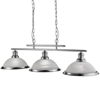 Satin Silver 3 Light Industrial Ceiling Bar - 2683-3SS