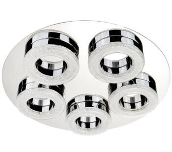 Chrome 5 Ring LED Flush Ceiling Light - 8015-5CC