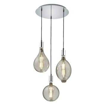 Chrome / Smoked Glass 3 Large Vintage Lamps on 3 Drop Pendant 24w - Fitting
