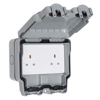 IP66 Double Outdoor Weatherproof Socket - 2 Gang Unswitched