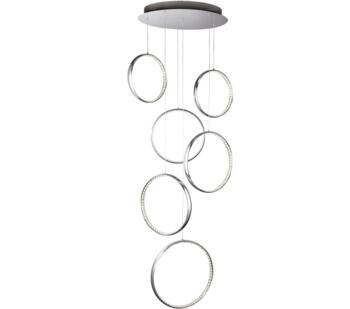 Chrome Rings 6 Light LED Pendant Ceiling Light - 3166-6CC