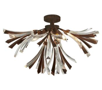 Bronze & Clear Shake 3 Light Flush Ceiling Fitting - 2573-3BR