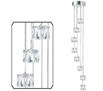 Polished Chrome Ice Cube 8 Light LED Pendant  - 6778-8-LED