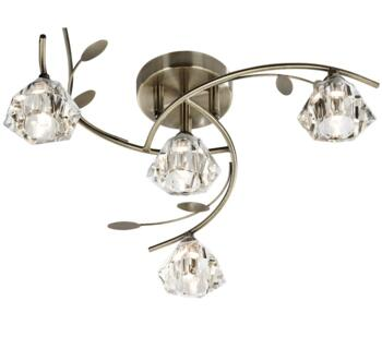 Antique Brass 4 Light Semi-Flush Ceiling Light - 2634-4AB