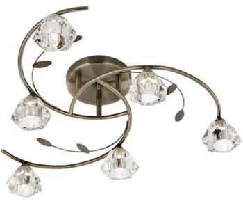 Antique Brass Sierra 6 Light Semi-Flush Ceiling Light  - 2636-6AB