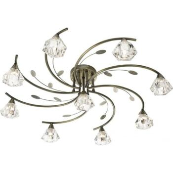 Antique Brass 9 Light Semi-Flush Ceiling Light - 2639-9AB