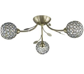 Antique Brass 3 Light Semi-Flush Ceiling Light - 6573-3AB