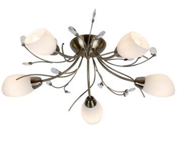 Antique Brass 5 Light Semi-Flush Ceiling Light - 1765-5AB