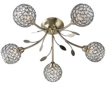 Antique Brass Bellis II Semi-Flush Ceiling Light - 6575-5AB