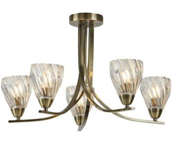 Antique Brass 5 Light Semi Flush Ceiling Light - 4275-5AB