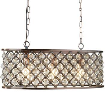 Antique Copper 3 Light Oval Pendant Light - 6953-3CU