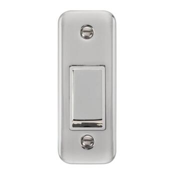 Polished Chrome Architrave Switch - With White Interior