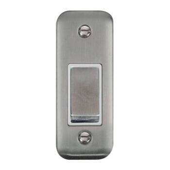 Stainless Steel Architrave Light Switch - With White Interior