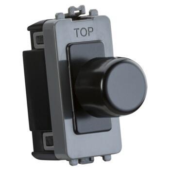 Matt Black Grid Dimmer Light Switch Modules - 1 Gang 2 Way 10-200w