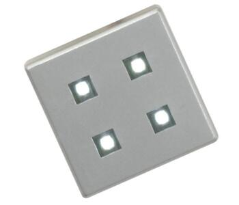 LED Kitchen Plinth 4 Light Square - Satin Silver  - Pack Of 4 x Lights With White LED
