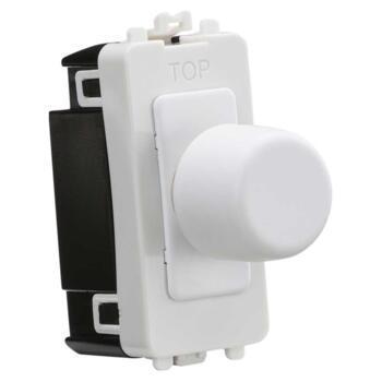 Matt White Grid Dimmer Light Switch Modules - 1 Gang 2 Way 10-200w