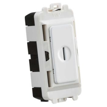 Matt White Grid Key Switch Modules - 1 Gang 2 Way