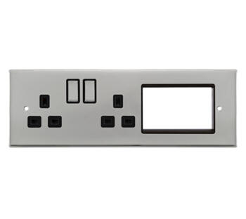 New Media 1 Tier Semi-Modular Half Media Plate - Polished Chrome with Black Insert