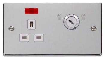 Polished Chrome Locking Socket - With White Interior