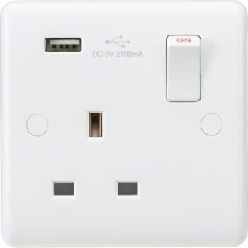 White 13A Single USB Socket Switched DP - Pack of 1