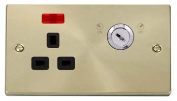 Satin Brass Locking Socket - With Black Interior