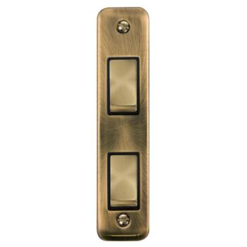 Antique Brass Double Architrave Light Switch - With Black Interior