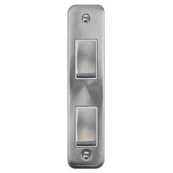 Curved Satin Chrome Double Architrave Light Switch - With White Interior