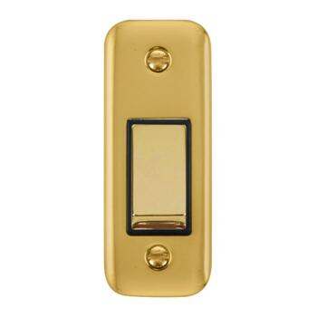 Polished Brass Architrave Switch - With Black Interior