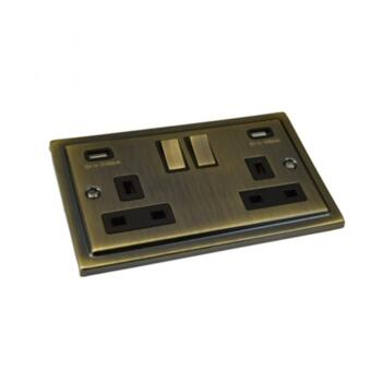 Stepped Antique Brass 13A Switched Socket Outlet With USB Charger - USB Charger