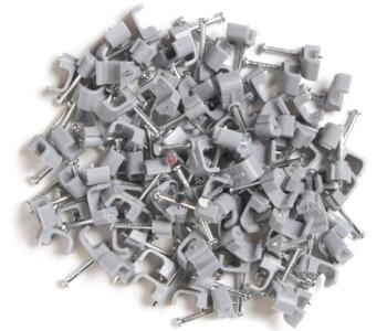 Cable Clips for Twin & Earth Cable - Flat - Grey - 1mm - Box of 100