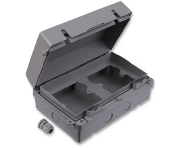 IP65 Exterior Accessory Box - 2 Gang Dual - Grey