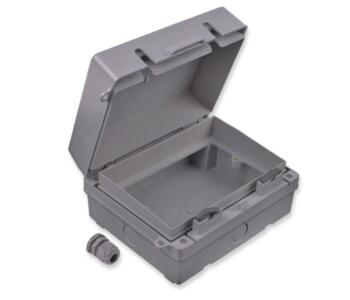 IP65 Exterior Accessory Socket Box - 2 Gang Double - Grey