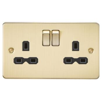 Flat Plate Brushed Satin Brass Double Socket - With Black Interior